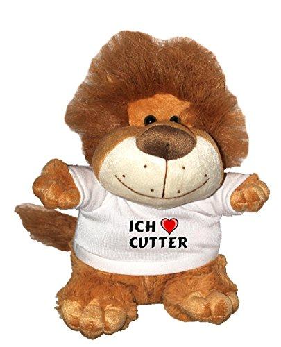 Löwe Plüschtier mit einem T-shirt mit Aufschrift Ich liebe Cutter , Größe 27 cm (Vorname/Zuname/Spitzname)