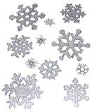 Widmann 1204I - Vetrofanie Sticker Adesivi, Fiocchi di Neve con Glitter Iridescenti, 11 Pezzi