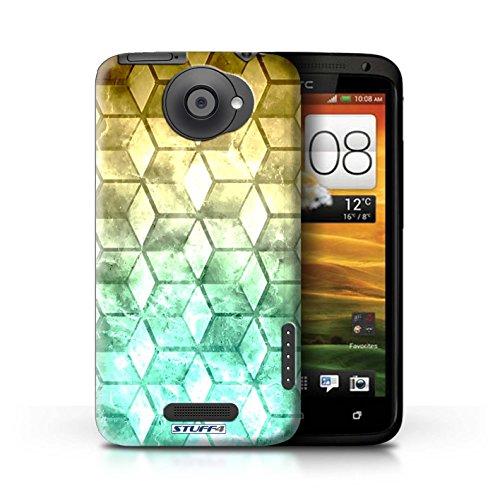Kobalt® Imprimé Etui / Coque pour HTC One X / Jaun/Vert conception / Série Cubes colorés Jaun/Vert