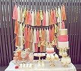 20x Peach Pink Gold Weiß Seidenpapier Quasten für Party Hochzeit Gold Girlande Wimpelkette Pom Pom