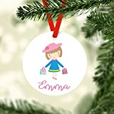 DKISEE Little Shopper Personalized Christmas Ceramics Ornament, Personalized Children's Ceramics...