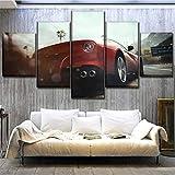 Mddrr Leinwand Hd Print Home Decor 5 Stücke Need For Speed Rivalen Malerei Rot Sportwagen Poster Wandkunst Schlafzimmer Bilderrahmen Wohnzimmer Dekoration
