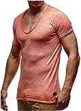 LEIF NELSON Herren T-Shirt V-Neck V-Ausschnitt Kurzarm-shirt Top Basic Shirt Crew Neck Vintage Sweatshirt Sweater LN6280-1 S-XXL; Größe L, Verw. Orange