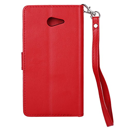 Custodia Sony Xperia M2 - Cover Sony Xperia M2 - ISAKEN Accessories Cover in PU Pelle Bronzing Oro farfalla Leather Custodia Rigida Libro Bookstyle Wallet Flip Portafoglio Copertura Anti Slip Protezio bronzante Rossa