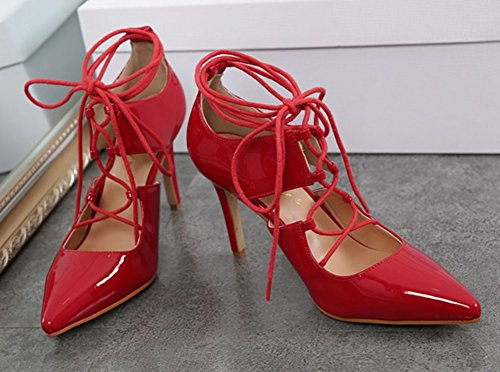 Aisun Femme Sexy Talon Aiguille Haut Cross à lacets Escarpins Rouge