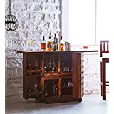 Cherry Wood Weatherproof Matured Sheesham Wood Bar Cabinet Wine Rack with Glass Storage with Flat Storage Table for Home Bar and Wine Counter Furniture