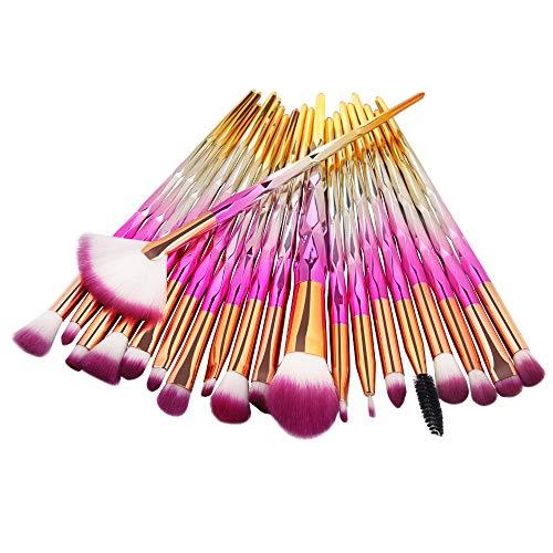 RFVBNM Maquillage pinceau Rainbow maquillage brosses Set 20pcs rhinestone outils Pro poudre Fondation Eye LIP dissimulateur visage coloré Kit brosse, D