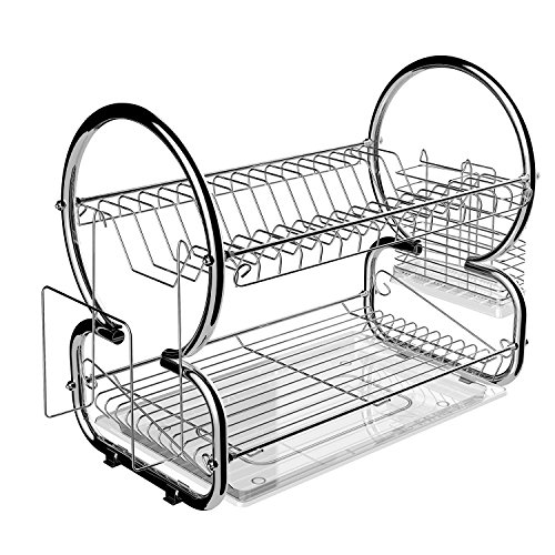 Geschirrabtropfer aus Edelstahl, Geschirrständer mit Abtropfschale und Besteckkorb 44 x 25 x 38cm, Abtropfgestell Küche Helfer