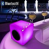 Mervyn–Idee Regalo Di Noel–Cubo pouf luminoso multicolore 15cm LED ricaricabile telecomando bluetooth e altoparlante