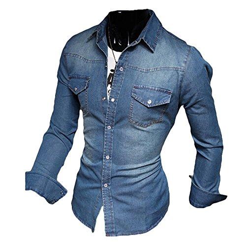 Moda uomo camicie da uomo camicie jeans a maniche lunghe jeans lavato slim body pullover nero azzurro blu scuro