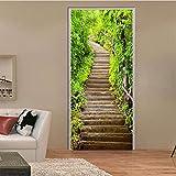wlflyh Adesivo per Porta a Muro Verde Sentiero forestale Scale in Pietra Paesaggio Carta da Parati Soggiorno Studio Fai da Te Creativo autoadesiva Porta Poster 3D 90x200 cm