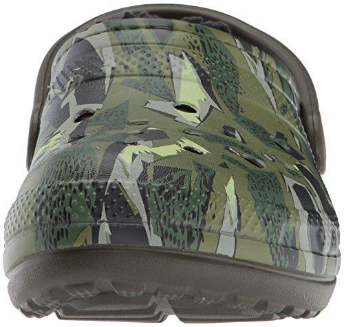Crocs Unisex Classique Lined Clog Graphic Mule Dark Camo Green/Black