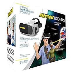 Gafas Realidad Virtual Niños + Juego Aprender Idiomas [Regalo Educativo]: inglés, francés, etc. Juguete 5, 6, 7, 8… años - Gafas 3D con botón - También para videos virtuales - Cumpleaños - VR Game