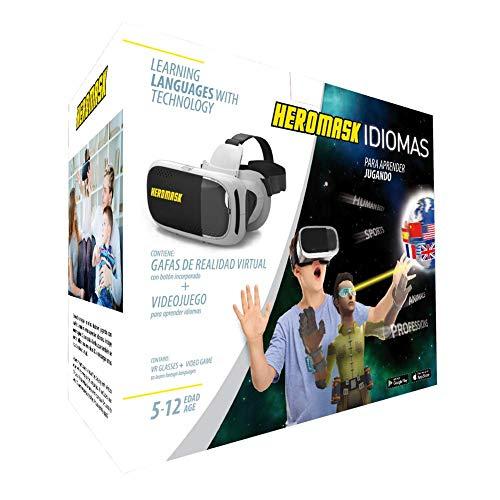 Gafas Realidad Virtual Niños + Juego Educativo Idiomas [Regalo Original]. Aprende inglés, francés... Juguete 5 6 7 8 9 10 11 12 años - Gafas 3D con botón - videos virtuales - Cumpleaños - Navidad - VR