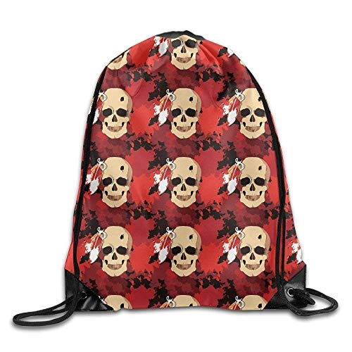 Okhagf Indian Tribe Headress Skull Drawstring Bag for Traveling Or Shopping Casual Daypacks School Bags Backpack Gym