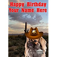 Tibetan Spaniel Dog j742 Cowboy Sheriff Fun Cute Happy Birthday A5 Personalised Greeting card POSTED BY US GIFTS FOR ALL 2016 FROM DERBYSHIRE UK