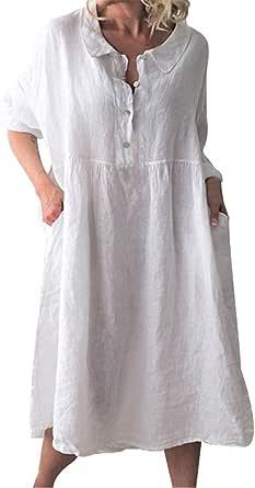 TIFIY Donna Vestiti Abito in Lino da Donna Casuale Pianura Bottone Giù Abito Taglie Forti o-Collo a Manica Lunga Solido Abito Midi Abito a Camicia Lunga Eleganti Abito Vestito Vintage Dress