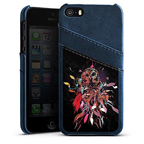 Apple iPhone 4 Housse Étui Silicone Coque Protection Hibou Hibou Art Étui en cuir bleu marine