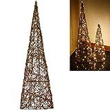 Dszapaci Weihnachtspyramide Beleuchtet 60 cm LED Weihnachtsbeleuchtung Fenster Innen Batteriebetrieben Leuchtpyramide Warmweiss (G1)