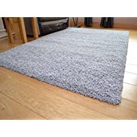 Soft Touch Shaggy Silver Thick Luxurious Soft 5cm Dense Pile Rug. Available in 7 Sizes (120cm x 170cm)