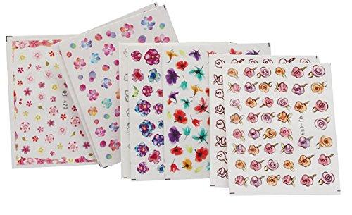 Aikesi 9 pezzi adesivi per unghie donna moda 3d adesivo decorazione per unghie decal adesivi per unghie fai da te (7 + 2 casuale)