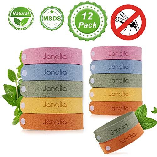 Janolia Pulsera Repelente de Mosquitos, 12pcs Pulseras Antimosquitos, Bandas para Hacer Deportes y Actividades al Aire Libre, Materias Naturales, Ajustables para los Niños y Adultos