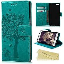 Huawei P8 Lite Funda Libro de Suave PU Leather Cuero Impresión - Mavis's Diary Carcasa Con Flip case cover,Cierre Magnético,Función de Soporte,Billetera con Tapa para Tarjetas-Diseño de Árbol y Gato y Mariposa,azul