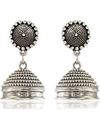 AHUTI ACCESSORIES Oxidized Silver Plated Jhumkas Earrings For Women (EAH020)