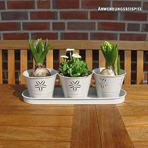 Videx Pflanztopfset Romy, sandhell, 3 Töpfe mit Untersetzer