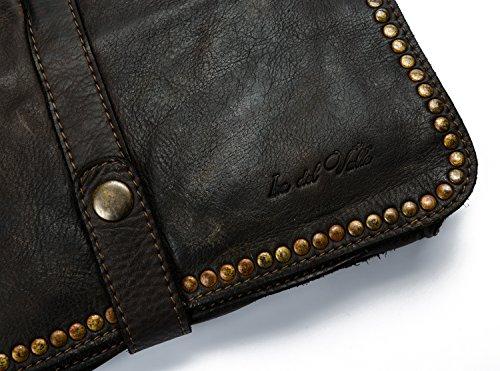 Ira del Valle, Borsa Donna, In Vera Pelle, Vintage, Borsa tracolla donna, Modello Charlotte Bag, Made In Italy marrone