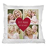 Personello Kissen (40x40) Beste Mama, personalisierbares Fotokissen mit Collage (4 Fotos), Geburtstagsgeschenk für die Mutter, Geschenk Zum Muttertag, Kissen Inklusive Füllung