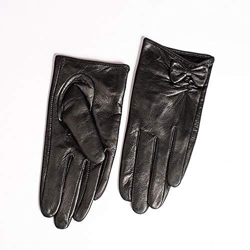 Agelec Berührbare Lederhandschuhe weibliche dünne Abschnitt Wildlederhandschuhe Plus Samt warme Winter Reiten Motorrad Lederhandschuh (Color : Thin Lining, Größe : XS)