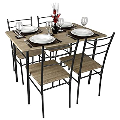 Cecilia 5 Piece Natural Wood Rectangle Table Dining Set Flat Packed - low-cost UK dining table shop.