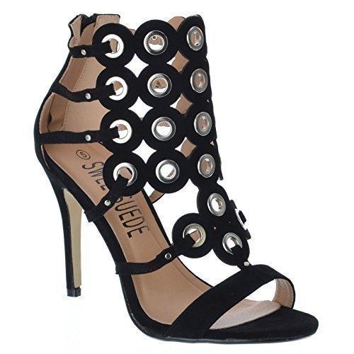 Damen NEU Stiletto High Heel Riemchen Öse Open Toe Gladiator Party Ball ausgeschnitten Reißverschluss Sandalen Schuhe Größe - Schwarzes Kunstwildleder / Silberfarbene Ringe, EU 39 (Gladiator-sandalen Heel)