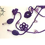 ACCESSORI SOLELUNA - collana a uncinetto viola con perline e cristalli in tinta- pezzo unico