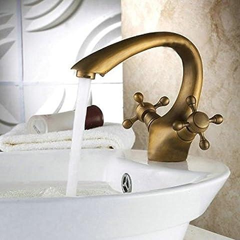 Tougmoo Eau chaude et froide robinet de lavabo en cuivre Eau chaude et froide Lavabo Tap-style Double-basin Mitigeur double, Plus d'un