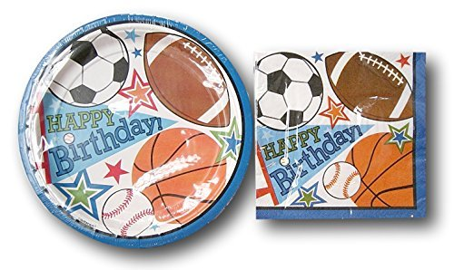 Party Impressions Sports Boys Birthday Party Supply Kit - Plates and Napkins by Party Impressions