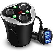 Encendedor Mechero Coche Adaptador Cargador de Coche 3 Encendedores Salidas y 3 Puertos USB 12/24V DC 120W Interruptor Separado para Cargar iPhone X 8 7 6s Plus Samsung Galaxy S8 S7 GPS y Otros(Black)