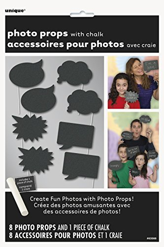 Unique Party Set de accesorios decorativos de pizarra para fotos (8 unidades)