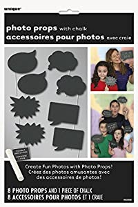 Unique Party- Paquete de 8 accesorios de cabina de fotos Pizarra, Color negro (63566)
