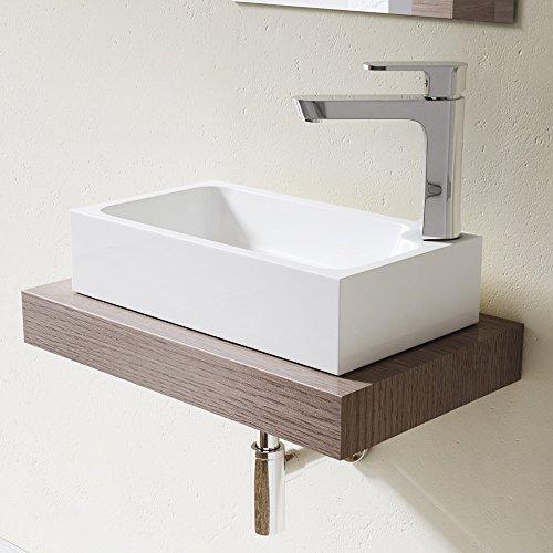 Lavabo vasque à poser évier fonte minérale Colossum 101, rectangulaire, blanc Larg 46 cm, prof 26 cm, haut 11 cm