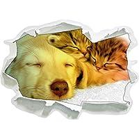 cucciolo carino rannicchia con adorabile gattino formato adesivo nero / bianco, carta da parati 3D: 92x67 cm decorazione della parete 3D Wall Stickers parete decalcomanie