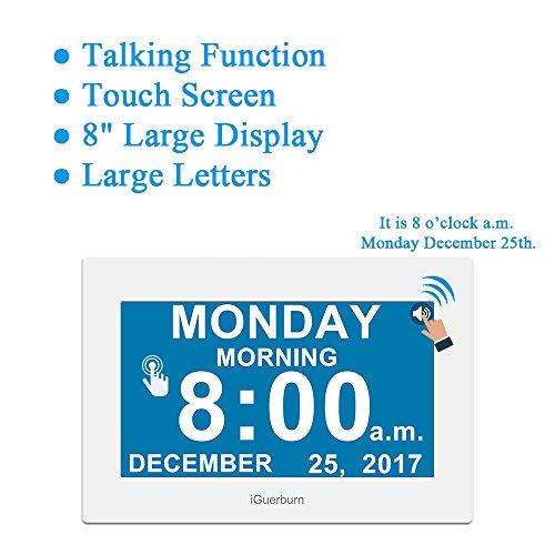 Calendario Digitale Per Anziani.Iguerburn Calendario Orologio Digitale Con 8 Touchscreen