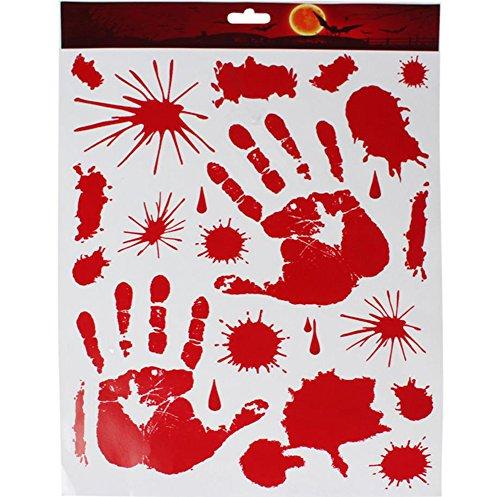 Demarkt Halloween Fenster Blutige Sticker Aufkleber mit Statische Elektrizität 43*30cm Rot Fingerabdrücke