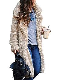 Hibote Cárdigan Largo para Mujer - Otoño e Invierno Chaqueta Extragrande  Casual Trenca Abrigo Mujer Elegante 04d34b0109b1