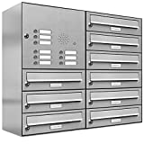 AL Briefkastensysteme 9er Briefkastenanlage mit Klingel, Edelstahl, Premium Briefkasten DIN A4, 9 Fach Postkasten modern Aufputz
