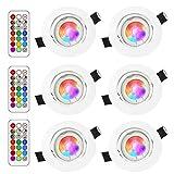 Lengjoy 6Pack Faretto a soffitto GU10 RGB Lampade dimmerabili Colorate da 3W Faretto Illuminazione Atmosfera Mood Illuminazione Decorativa con Telecomando (6Pack RGB+5700K)