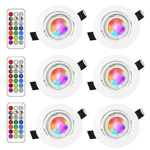 RGB LED deckenstrahler einbauleuchte,3W RGB lampen einbaustrahler,fernbedienung dimmbar,warmweiße beleuchtung und farbige beleuchtung,einbauspot,led einbaustrahler rgb,rundes weiß einstellbar(6pack)