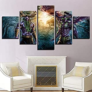 Dmyho Prints On Canvas 5 Pieces World Of Warcraft Painting Canvases Wall Artwork For Home Modern Decoration Print,A,30X40x2+30X60x2+30X80x1