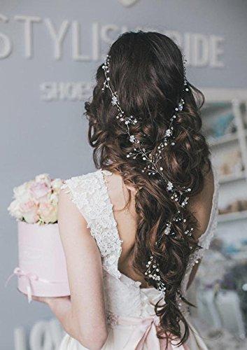 aukmla Haar Vine lang glänzende für Brautjungfern und Blumenmädchen Haarteil Hochzeit Beauty Charming Brautschmuck Kristall Haar (Up Kostüm Make Braut)